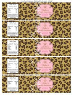 LEOPARD PRINCESS water labels baby shower by PrettyPartyCreations, $6.25