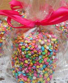 Jumbo Chocolate covered marshmallows  favors with colorful toppings.