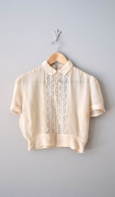 vintage 40s blouse / cream silk 1940s blouse / lace blouse
