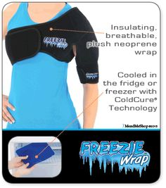 The Shoulder Freezie Wrap treats pain, swelling and inflammation caused by rotator cuff tendonitis while reducing tissue damage. Shoulder Surgery Recovery, Shoulder Replacement Surgery, Bursitis Shoulder, K Tape, Shoulder Rehab, Shoulder Sling, Rotator Cuff Tear, Psoas Release, Knee Pain Relief