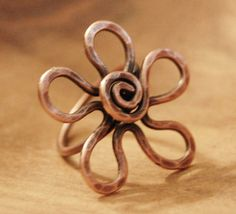 Large Flower Ring, Copper Flower Ring, Wire, Oxidized,  Wire Jewelry. $20.00, via Etsy.