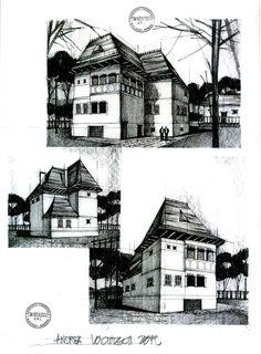 "Remake of the ""Cula Greceanu"" located in Maldaresti, Valcea, Romania. Historical Architecture, Architecture Design, Elevation Drawing, Building Sketch, Architecture Sketchbook, House Sketch, Perspective Drawing, Drawing Sketches, Sketching"