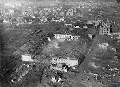 The bombarded barracks at Ypres, viewed from 500 ft. (Australian official photographs/State Library of New South Wales)