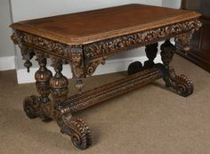 Victorian carved oak library or centre table. C1890