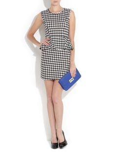 Houndstooth Peplum Dress - clutch should be red...
