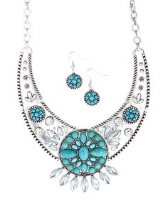 Look at this #zulilyfind! Turquoise Crescent Bib Necklace & Drop Earrings by Oori Trading #zulilyfinds