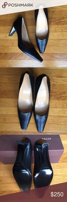 Bally Leather Saltana Women's High Heels Women's Size 5.5 M black leather heels! New with box and never worn except to try on. The box has the incorrect size as when we bought from the store this is what they had. Soles are in great condition. Heel height is 3 inches. Bally Shoes Heels