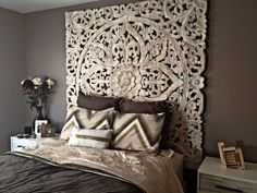 Panells de fusta tallada de la India, com a capçal de llit Home Bedroom, Bedroom Decor, Bedroom Furniture, Modern Furniture, Bedroom Bar, Bedroom Ideas, Bedding Decor, Wall Decor, Mural Wall