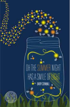 """Fireflies Quote Print """"Oh, the summer night, has a smile of light"""""""