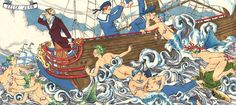 Farewell Voyage Felix dEon Mermen and gay boys in a vintage style illustration by Felix d'Eon