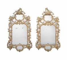 A pair of Scottish George III giltwood mirrors attributed to William Mathie, circa 1760
