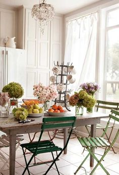 Beachy Cottage Dining + Parisian Cafe Chairs + Coastal + Shabby + French + Country + Vintage