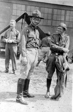 Harry S Truman (with a mustache) in uniform
