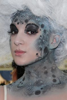 "Artistic crystal and ""lace"" fantasy make-up."