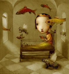 frog prince princess and the toad childrens book illustration surrealist art painting fantasy