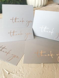 rose Gold foil thank you cards, custom thank you cards, rose gold foiling thank . Thank You Card Design, Custom Thank You Cards, Baby Thank You Cards, Calligraphy Thank You, Calligraphy Diy, Wedding Stationery, Wedding Invitations, Business Thank You Cards, Thanks Card