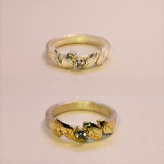 Leaf rings One silver and one with 14 karat gold leaves ChristiansenSmykker