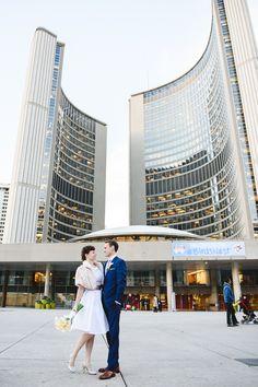 Mallory and Chris's 11 Guest, $4,000 Toronto City Hall Wedding. Photographer Jessilyn Wong. See more @intimateweddings.com #civilweddings