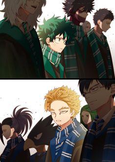 Harry Potter • My Hero Academia • Boku no Hero Academia • Crossover 5 Anime, Anime Kawaii, Haikyuu Anime, Anime Shows, Otaku Anime, Anime Art, Boku No Hero Academia Funny, My Hero Academia Shouto, My Hero Academia Episodes