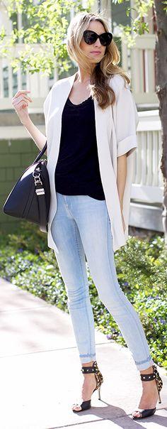 Eileen Fisher Bone Elbow Sleeve Long Jacket by Ivory Lane