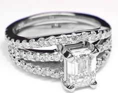 Emerald Cut Diamond Split Band Engagement Ring Beyonces Choice & Matching Wedding Band  - ES26ECBS