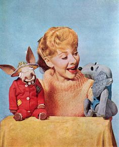 """jumbledplanet:  Ventriloquist Shari Lewis with her puppets Charlie Horse and Hush Puppy from """"The Shari Lewis Show, 1961 - 1963. Photo from Jack and Jill magazine, July 1961. From the personal collection of Jumbled Planet."""