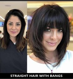 Get this super-pretty straight hair with bangs if you need a fresh style! Need more inspiration like this? Here are the 29 modern medium layered haircuts to inspire your next haircut. // Photo Credit: @ro.hsiqueira on Instagram Long Bob Hairstyles, Hairstyles With Bangs, Bob Haircuts, Fashion Hairstyles, Diy Hairstyles, Woman Hairstyles, Hairstyle Men, School Hairstyles, Wedding Hairstyles