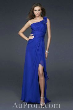 Chiffon One Shoulder Empire Royal Blue Long Dress For Wedding Guest
