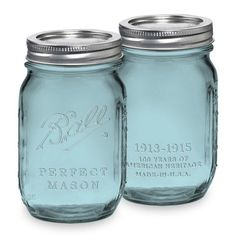 6 Pack 16 OZ Pint Mason Jars w/ Lids Canning Ball Heritage Collection Blue Green   eBay