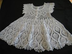 Free Crochet Baby Dress Patterns | Baby Christening Dress or Flower Girl Dress Crocheted Cotton White ...