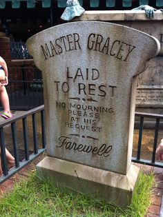 Haunted mansion.  Master Gracey laid to rest. No mourning please at his request.