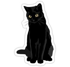 Original illustration of a black cat, perfect gift for cat lovers! / Great for stickers, phone cases, t-shirts and much more! Cute Sticker, Tumblr Stickers, Macbook Decal, Aesthetic Stickers, Printable Stickers, Laptop Stickers, Cat Art, Cat Lovers, Cartoon