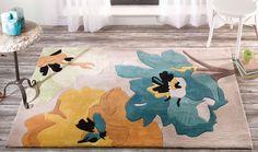 Tappeto a fiori azzurro e giallo