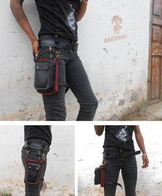 Riñonera cuero negro y cubierta de neumático reciclado. Diseños alternativos, artesanales y rockeros. Artesania con caucho Mad Max