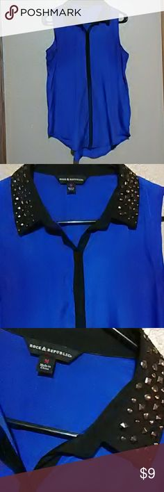 rock & republic sheer studded sleeveless top Rock&republic  Medium Studded collar Sheer sleeveless top Rock & Republic Tops
