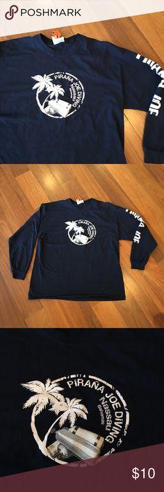 Pirana Joe Diving Shirt Pirana Joe Diving Shirt. Size XL. Navy Pirana Joe Shirts Tees - Long Sleeve