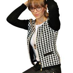 Fashion Women Slim Print Autumn Jacket Casual Houndstooth Outwear Short Thin Zipper Tops