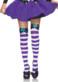 Mad Hatter Bow Top Thigh High Tights a must have accessory to keep in your wardrobe whether they are used to accent a fairy costume, or to style with an outfit. Thigh High Tights, Thigh Highs, Fancy Dress Accessories, Bow Tops, Costume Shop, Rave Outfits, Sexy Stockings, Hosiery, Thighs
