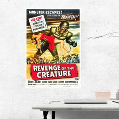 Monster Movie, Revenge of the creature, 1950s Movie, Horror Movie Poster, Man Cave Decor, Theater Wall Art, Living Room Decor, Gift for Dad by BonniePrintsElmo on Etsy