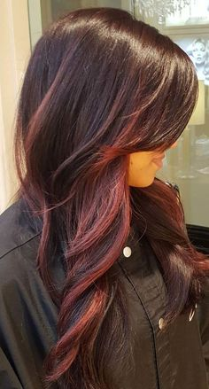 burgundy balayage for brown hair - Love the red!