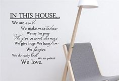 Newsee Decals #3 In this house we are real we make mistakes we say I'm sorry we give hugs we have fun we forgive we do really loud we are patient we love. Quote Word Art Vinyl Wall Decal Stickers Home Decor Black Newsee Decals http://www.amazon.com/dp/B00U661DB8/ref=cm_sw_r_pi_dp_S7ppvb1ZQ72B1