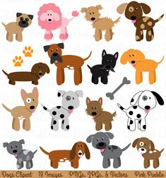 Dog Clipart Clip Art, Puppy Clipart Clip Art Vectors - Commercial and Personal Use on Etsy