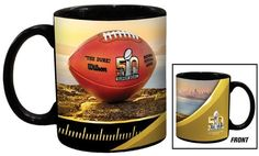 $23.95 - Football Fan Shop Super Bowl 50 Set of 2 Ceramic Black Mugs - 11 oz. - Super Bowl 50 Set of 2 Ceramic Black Mugs How about a little football with your coffee? Every day is a Super Bowl day with your favorite mug. The best part? You receive two!