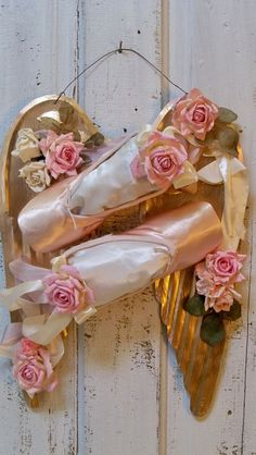 Pink ballet pointe shoes with golden wings by AnitaSperoDesign, $165.00