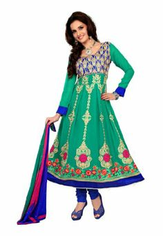 Fabdeal Women's Indian Designer Wear Embroidered Anarkali Suit Sea Green & Blue Fabdeal,http://www.amazon.com/dp/B00GAPX7EU/ref=cm_sw_r_pi_dp_4ptptb1HSES2MK10