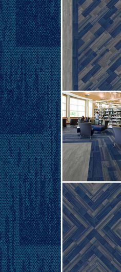 In honor of color of the year here's our take on designing with Classic Blue. Office Floor, Color Of The Year, Pantone Color, Granite, Carpet, Interiors, Flooring, Colour, Education