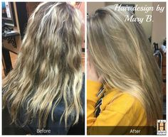 Mary B used Sombre to achieve a more subtle, highlighted effect. She protected the brightened ends of her client's hair using Olaplex!  Color design by Mary B