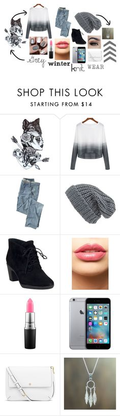 """""""Grey winter knit wear"""" by em-styles-16 ❤ liked on Polyvore featuring Wrap, Phase 3, Clarks, LASplash, MAC Cosmetics, Tory Burch, NOVICA, women's clothing, women and female"""