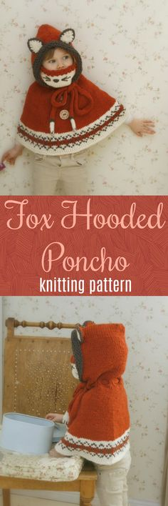 Fox Hooded Poncho with cowl knitting pattern #etsy #knit #ad #style #kidstyle #kidknits #fairisle #etsyseller