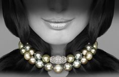 Pearl necklace with diamond clasp by David Marshall London